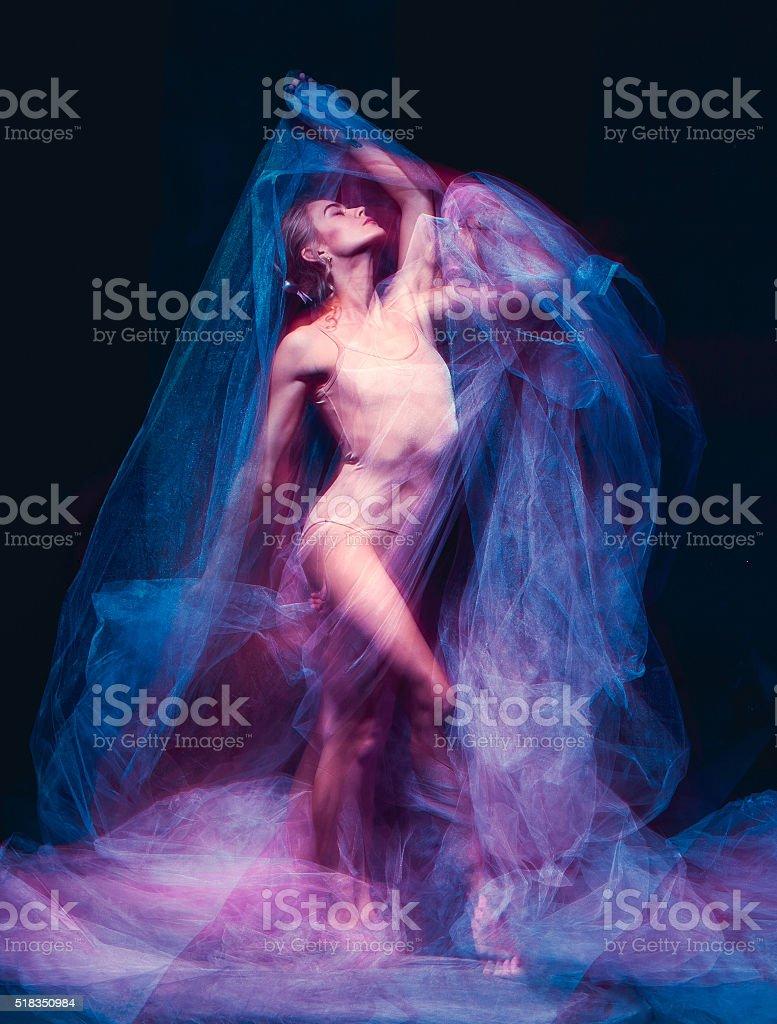 The art photo-emotional dance of beautiful ballerina stock photo
