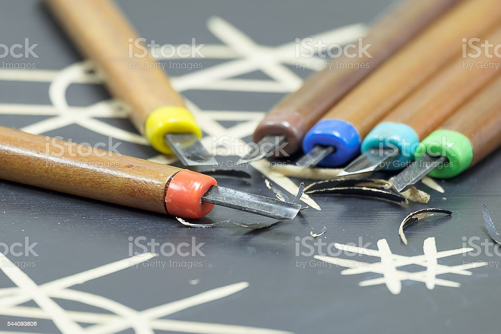 The Artist Carving Woodcuts, An Artistic Work stock photo