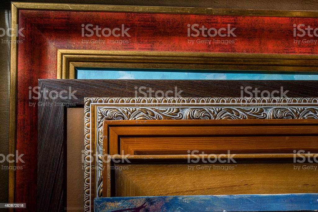The artworks are decorated in a frame is a lot in the workshop. stock photo