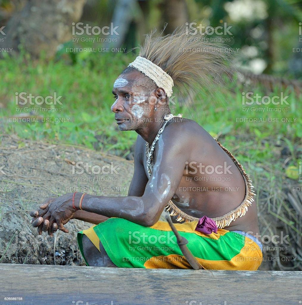 The Asmat warrior stock photo