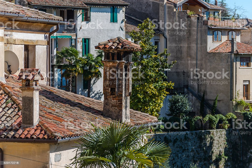 the Asolo roofs stock photo