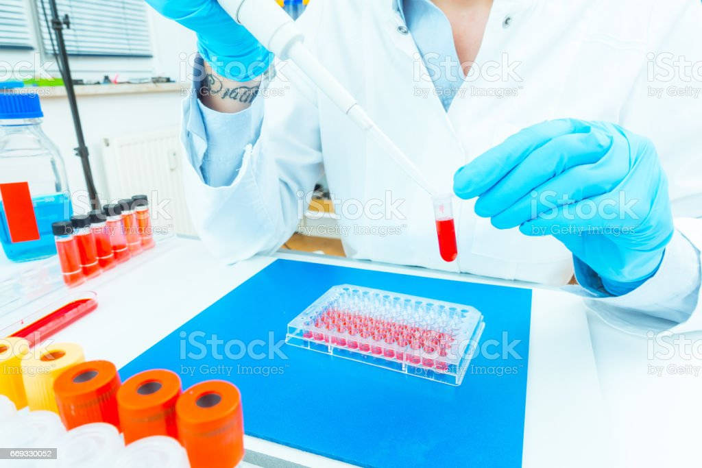 The assistant in the hospital makes a test of DNA for the establishment of paternity stock photo