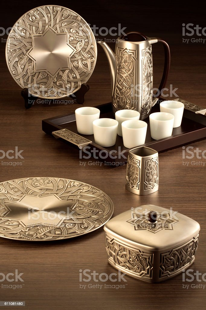 The Atiya collection of copper box, pot and plate on stock photo