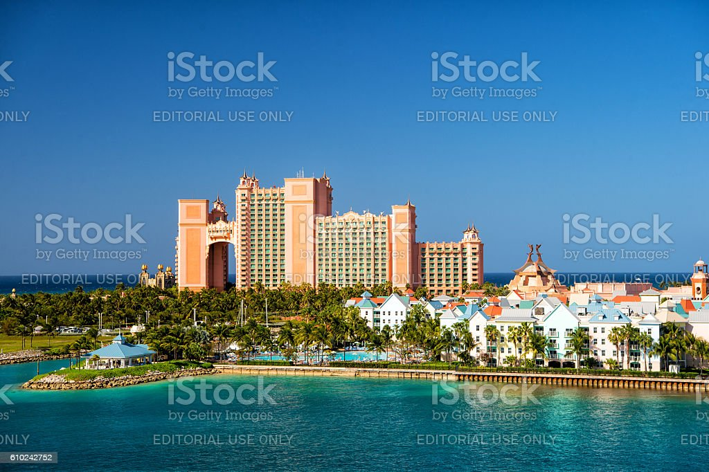 The Atlantis Paradise Island resort, located in the Bahamas stock photo