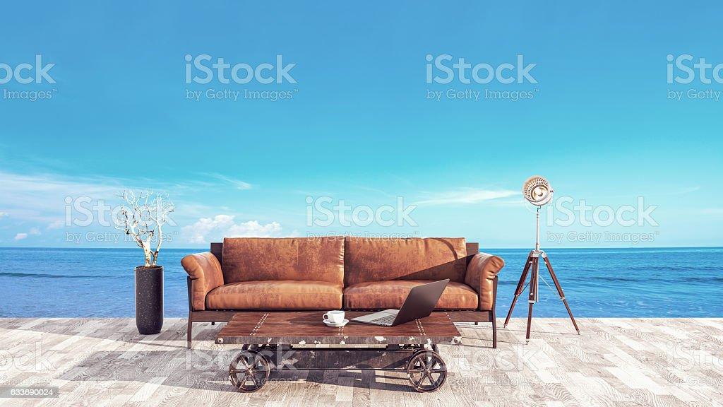 The atmosphere in the office balcony at the sea. stock photo