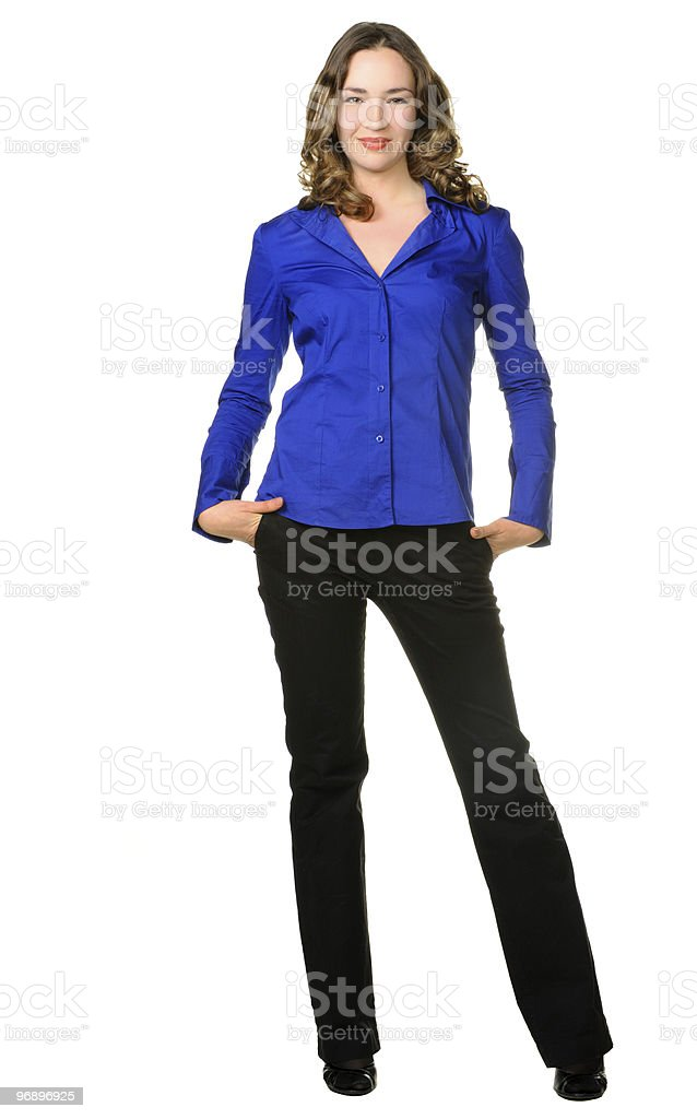 The attractive girl in trousers and dark blue shirt stock photo