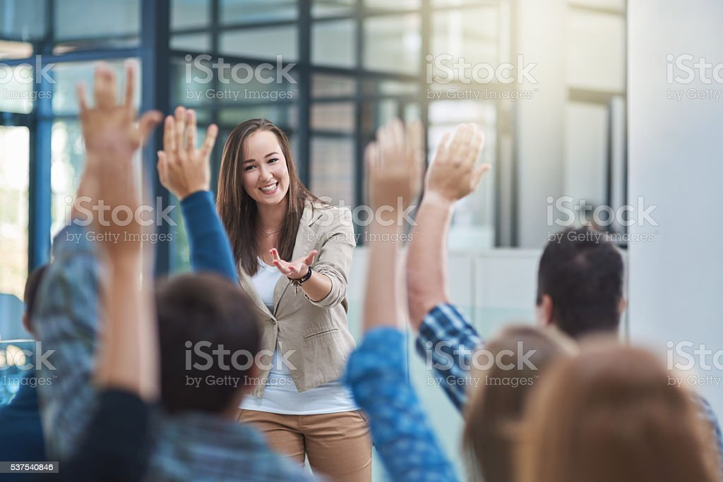 The audience has the answer stock photo