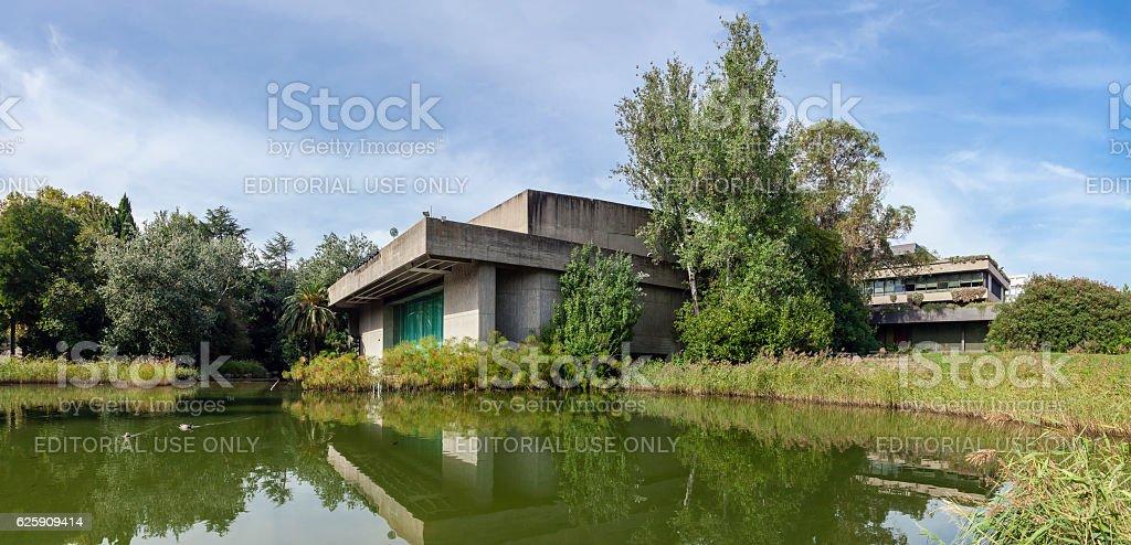 The auditorium seen across the lake in the garden stock photo