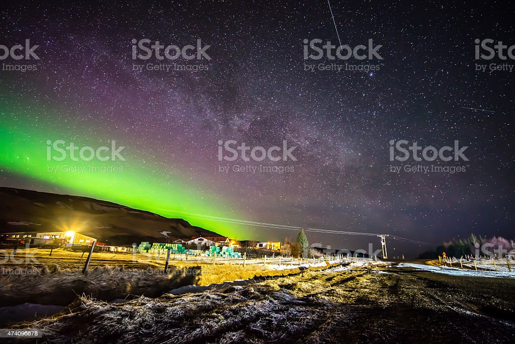 The Aurora and Milky Way display in Hunkubakkar in Iceland stock photo