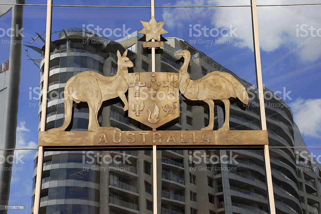 The Australian coat of arms as seen on building exterior stock photo