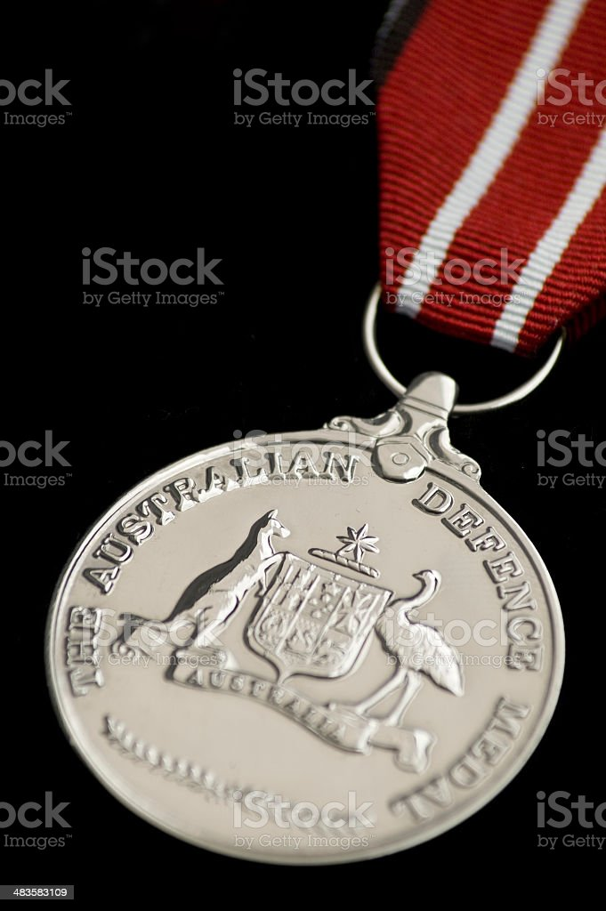 The Australian Defence Medal on black stock photo
