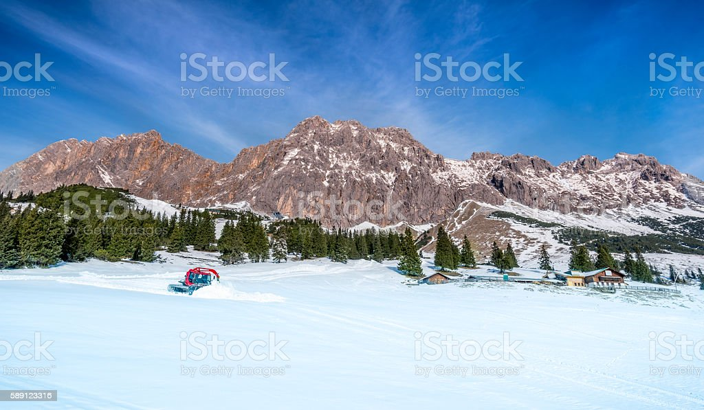 The Austrian Alps in winter stock photo