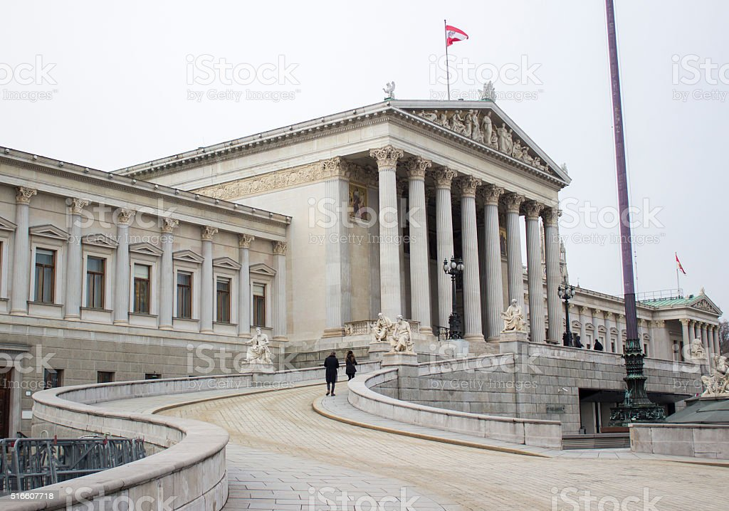 The Austrian Parliament building in Vienna, Austria stock photo