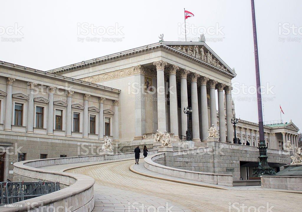 The Austrian Parliament building in Vienna, Austria stock photo