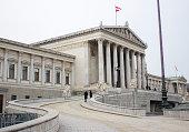 The Austrian Parliament building in Vienna, Austria