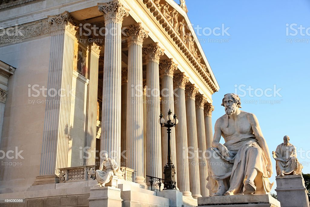 The Austrian Parliament in Vienna, Austria stock photo