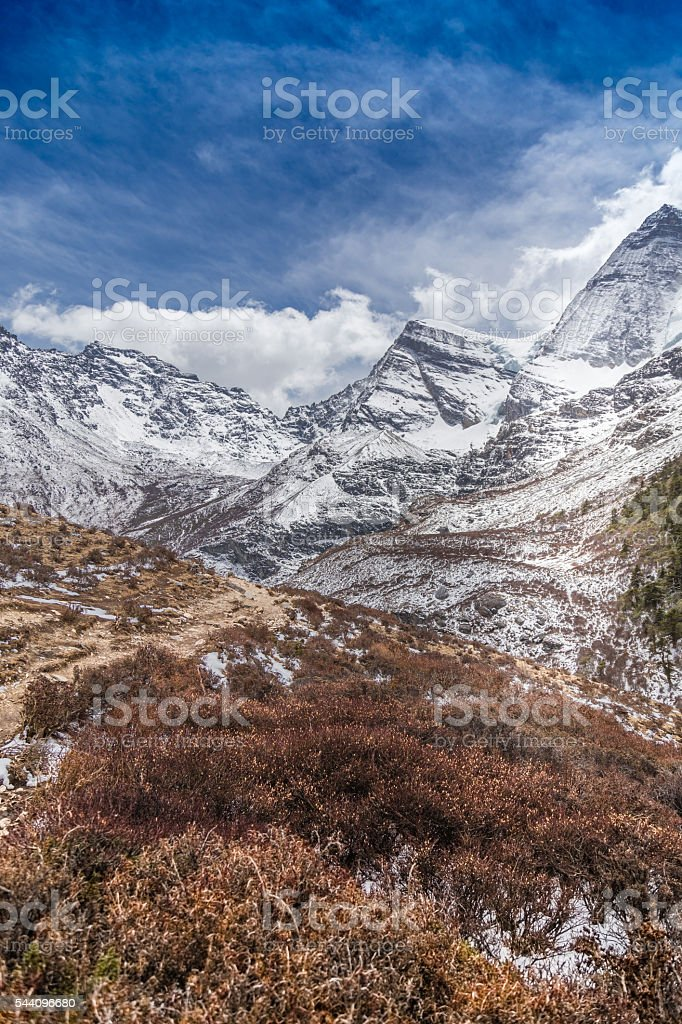 The Autumn at Yading Nature Reserve in Daocheng stock photo