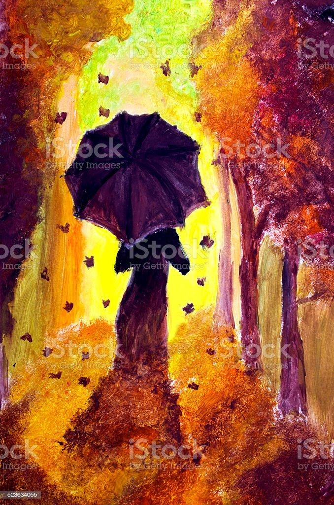 The Autumn Lady vector art illustration