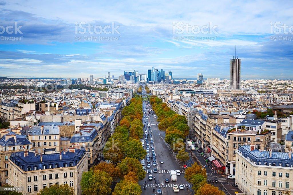 The Avenue des Champs-Elysees in Paris stock photo