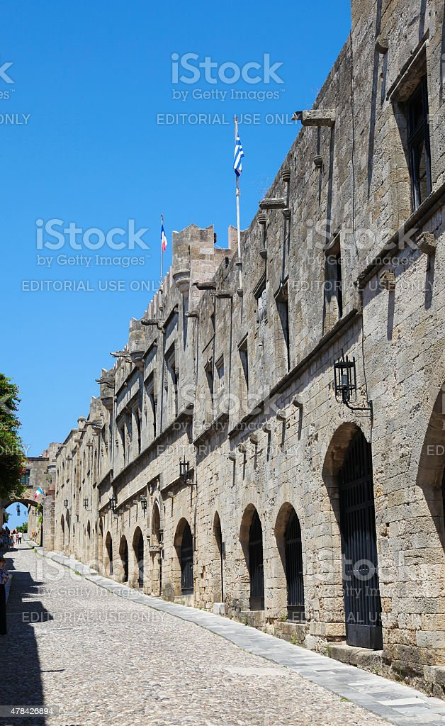 The Avenue of the Knights in Rhodes, Greece stock photo