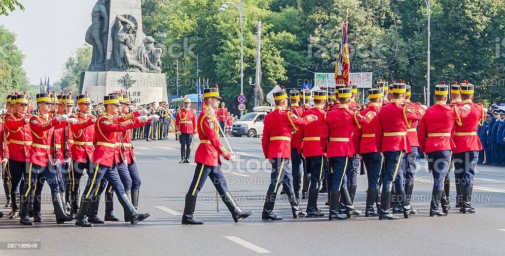 The Aviation Day near Aviators Statue with romanian soldiers parade stock photo