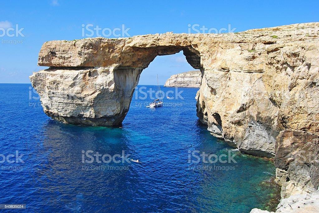 The Azure Window on Gozo island in Malta. stock photo