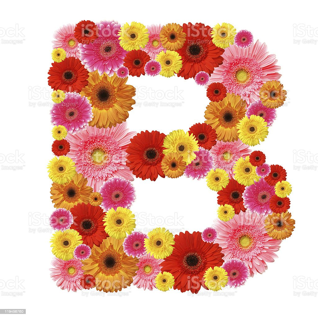 The B letter made up of colorful flowers isolated on white royalty-free stock photo