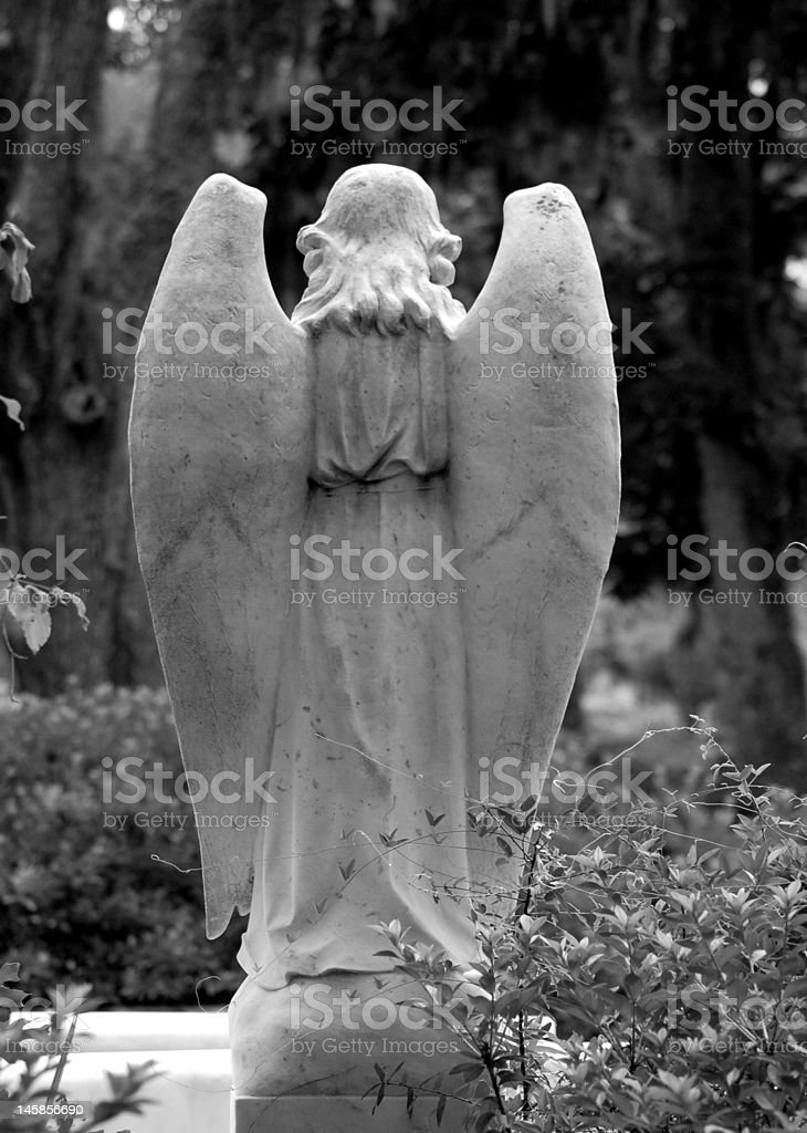 The back of an angel at bonaventure cemetery stock photo