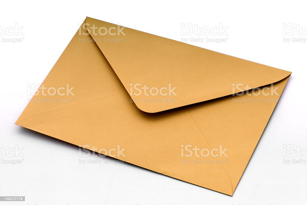 The back of an open yellow envelope on a white background stock photo