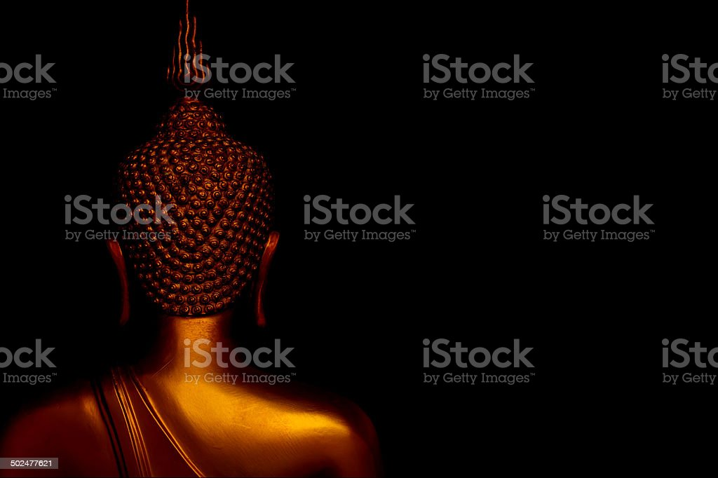 The back of the Buddha statue. stock photo