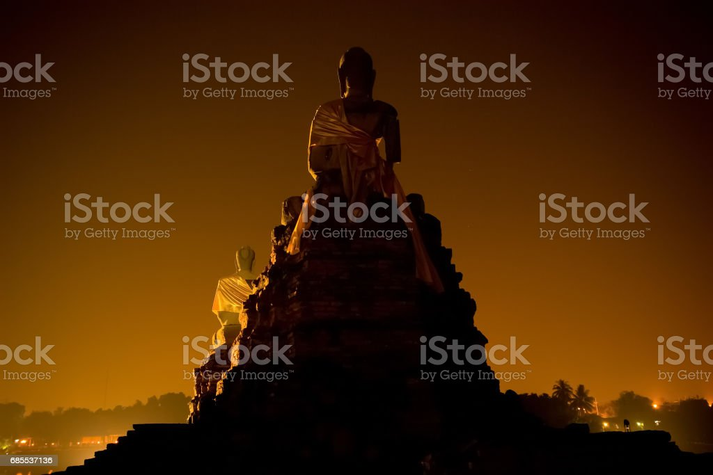 The back side of Buddha statue stock photo