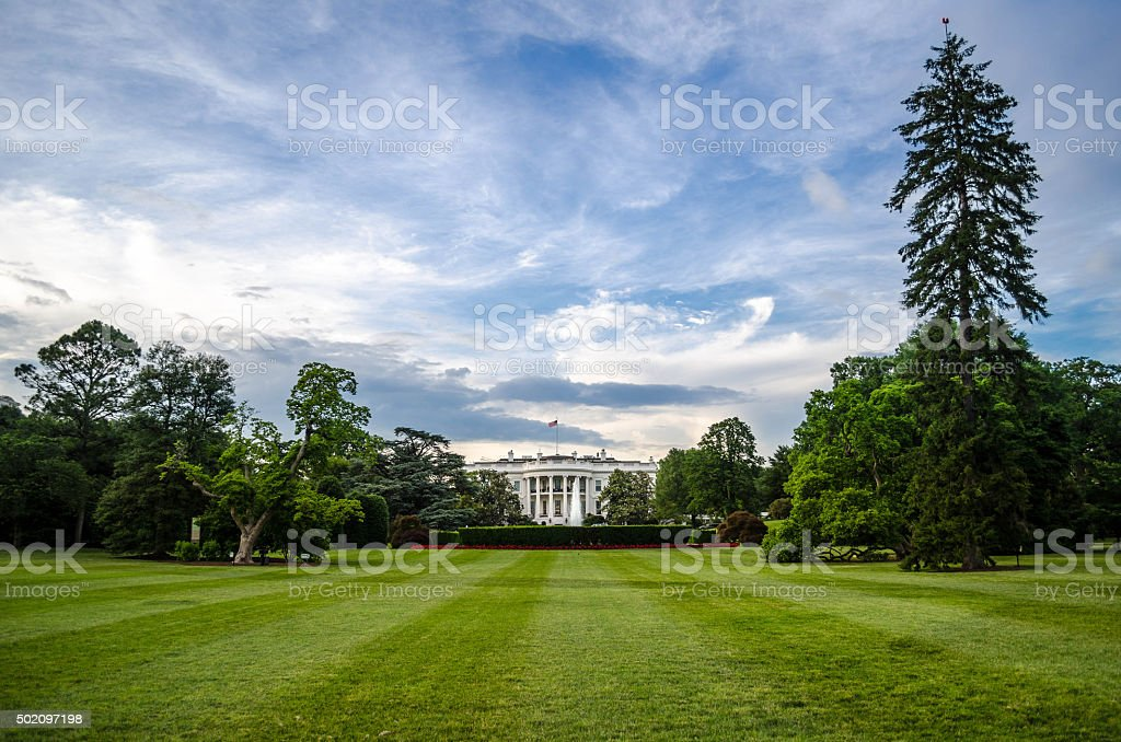 The back yard of the white house stock photo
