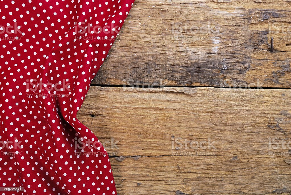 the background made from checkered napkin on old wooden table royalty-free stock photo