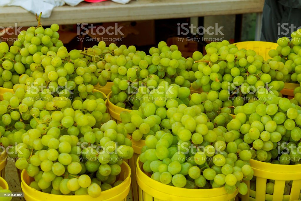 The background with green ripe grapes closeup stock photo