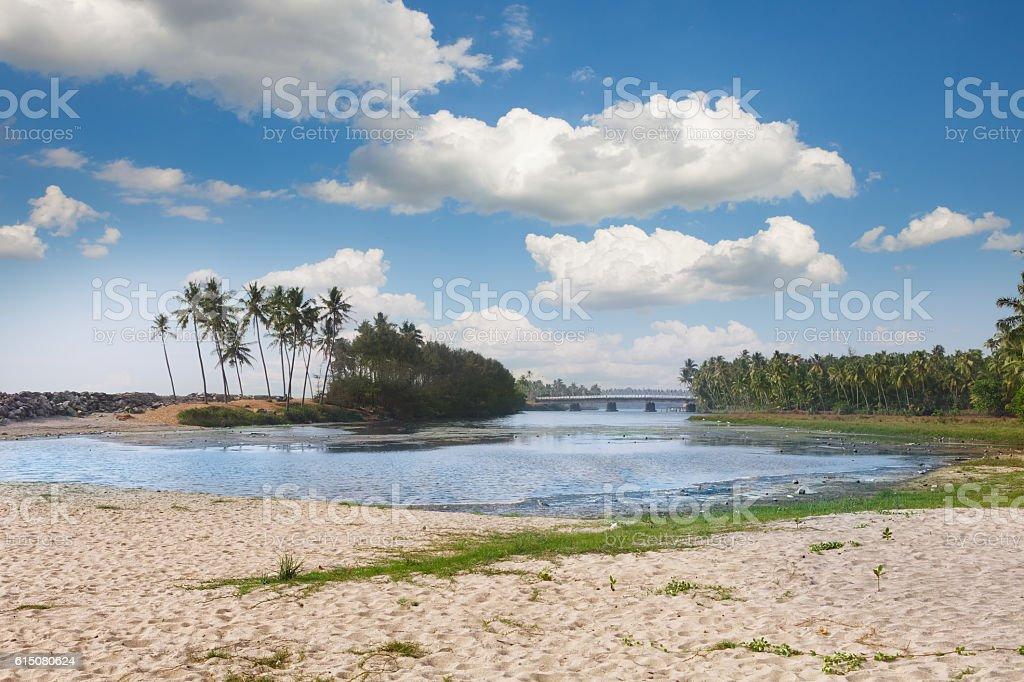 The Backwaters of Kerala near Varkala stock photo