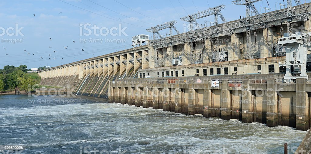 The Bagnell Dam at the Lake of the Ozarks stock photo