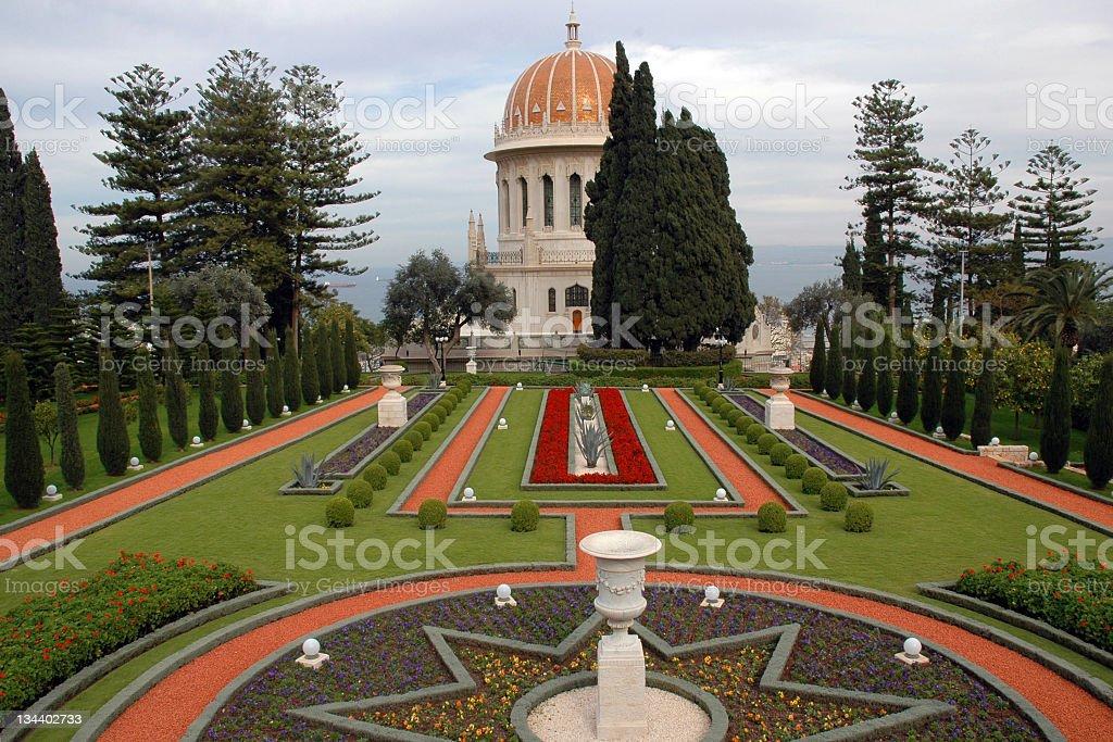 The Baha'i Gardens and temple (Haifa, Israel) stock photo