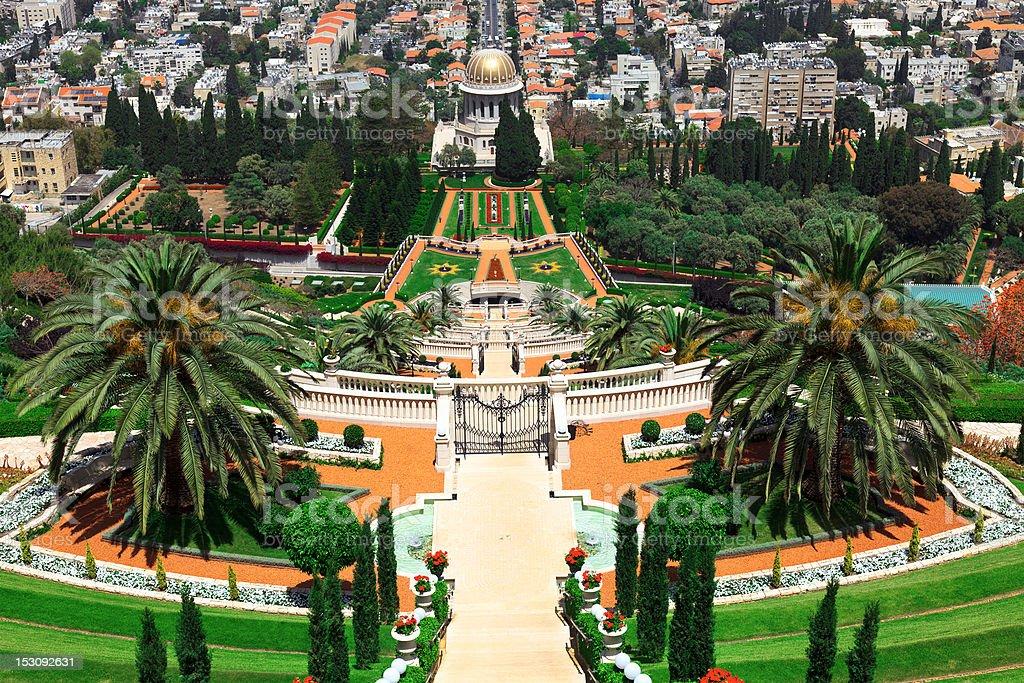 The Bahai Gardens in Haifa, Israel. stock photo