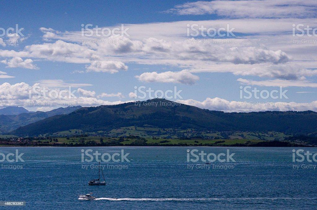 The Bahia de Santander and mountain stock photo