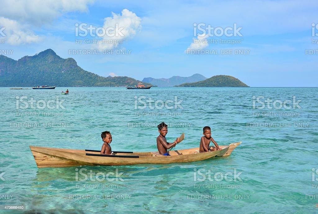 The Bajau Sea Gypsies of Borneo, Sabah, Malaysia stock photo