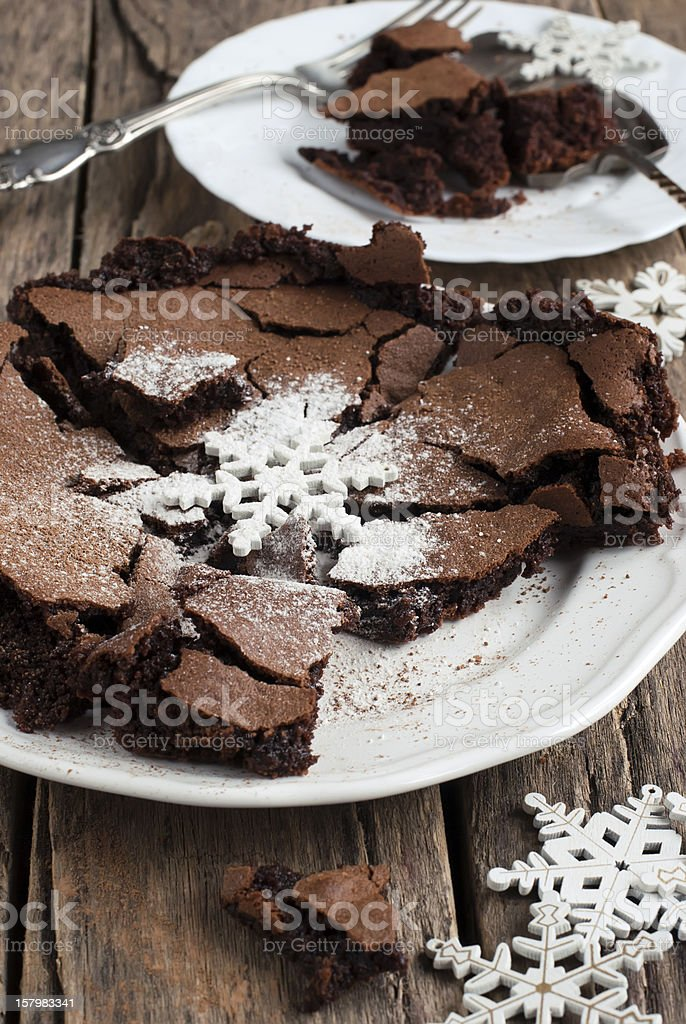The Baked Crisp Chocolate Decorated with a Powdered Sugar royalty-free stock photo