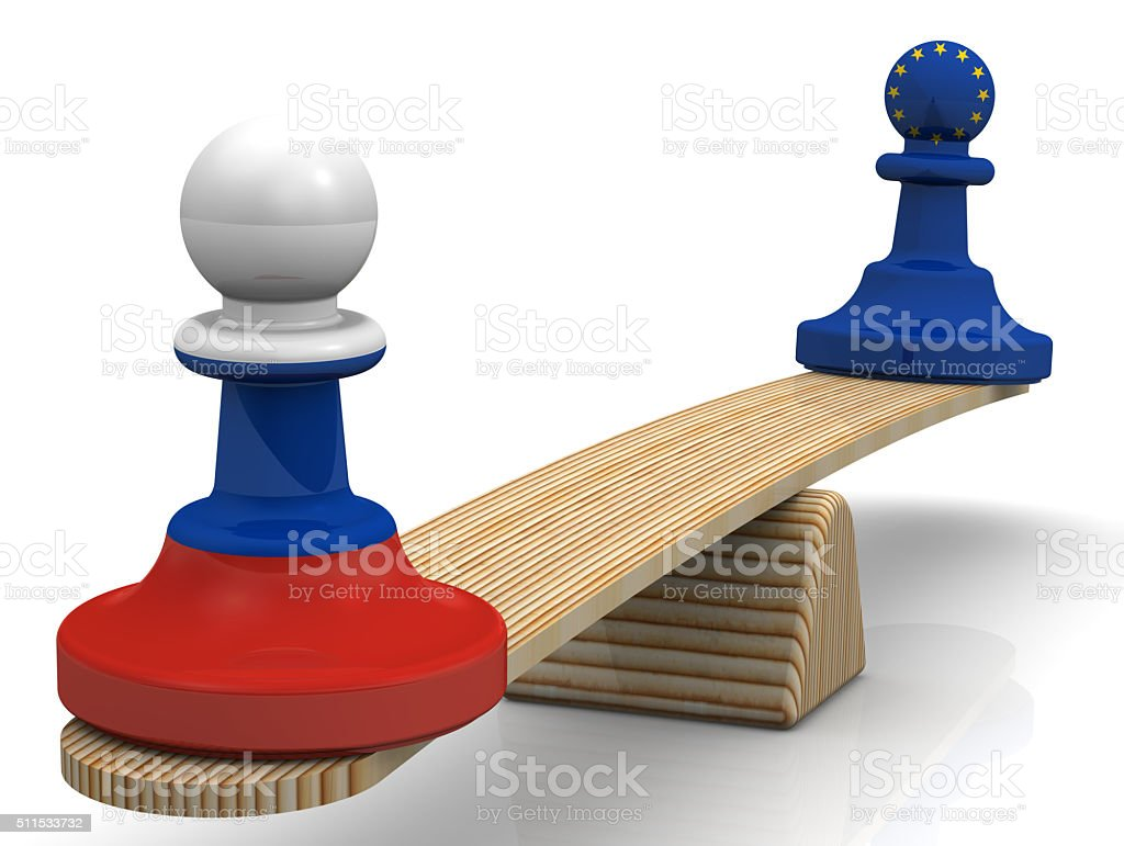The balance between the Russian Federation and the European Union. Concept stock photo