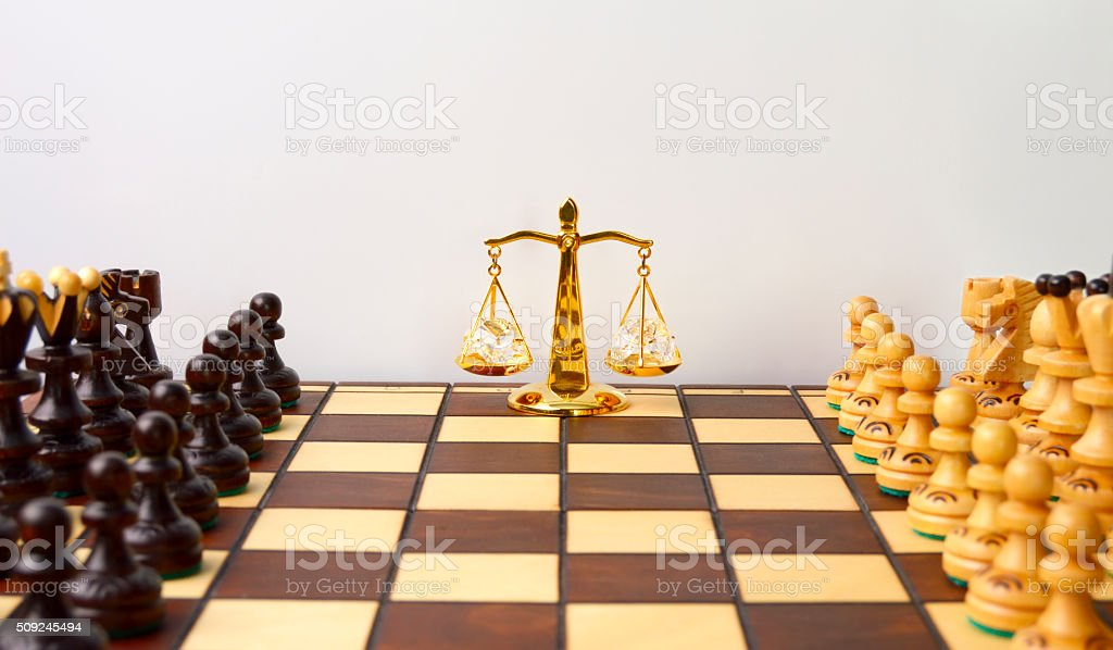 The balance of power before the game stock photo