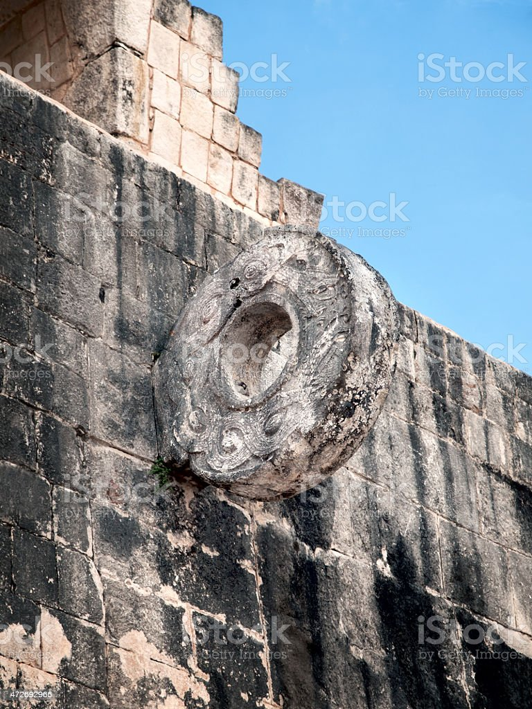 The Ballgame ring of Chichen-Itza, Mexico stock photo