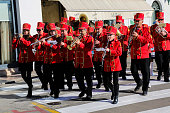 The band marches