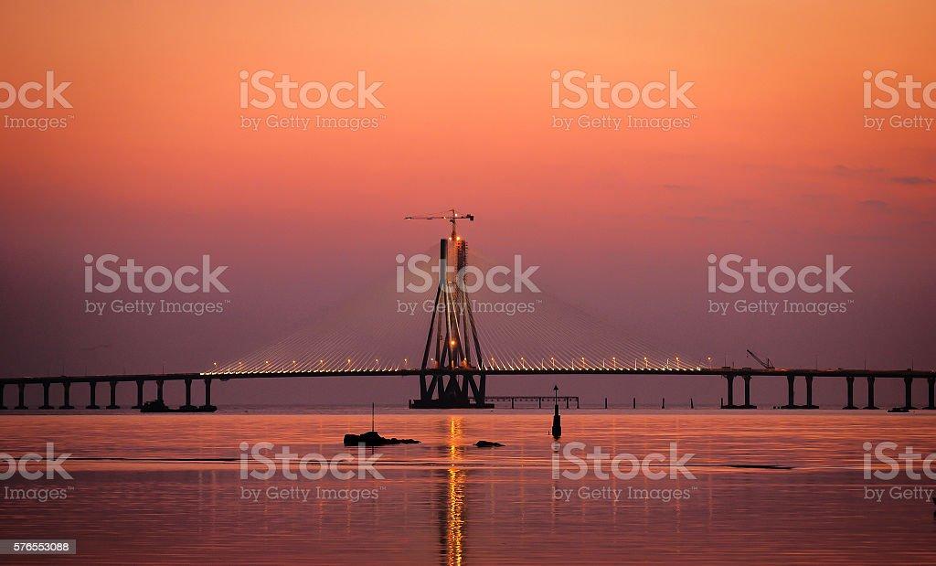 The Bandra-Worli Sea Link at dusk stock photo