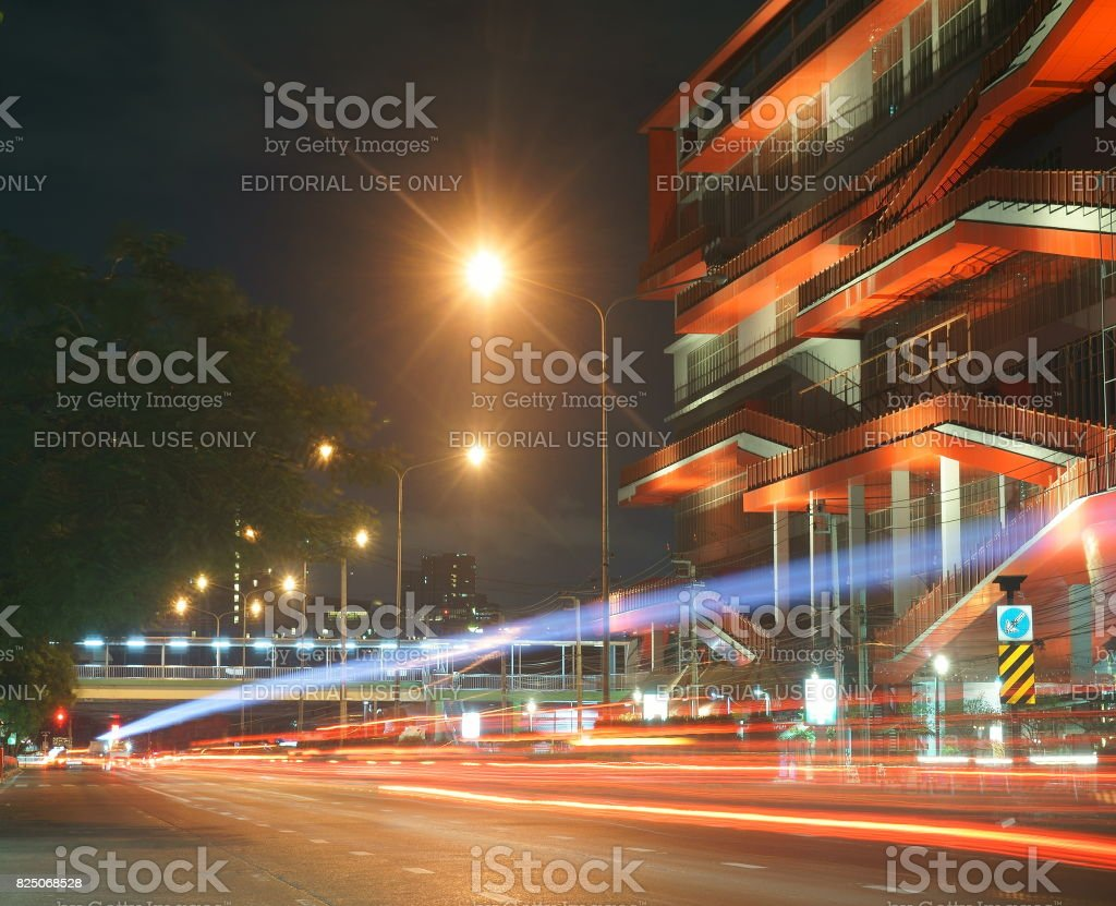 The Bangkok street at night in Chatuchak district which has the famous Sunday market stock photo