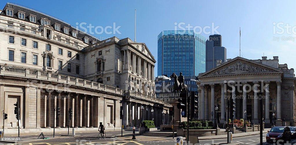 The Bank of England and Royal Exchange, London stock photo