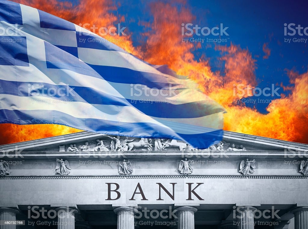 The banking crisis in Greece stock photo