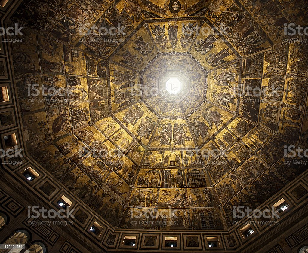 The Baptistery Roof in Florence royalty-free stock photo